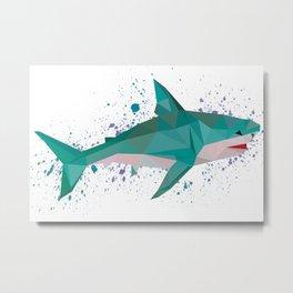 Geometric Shark, origami Design Metal Print