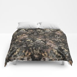 Gold Vein Black Marble Design Comforters