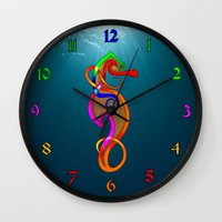 psychadelic Wall Clocks featuring Psychadelic Seahorse Knot by Knot Your World
