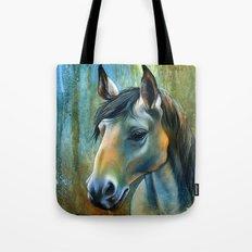 Horse in Blue Tote Bag
