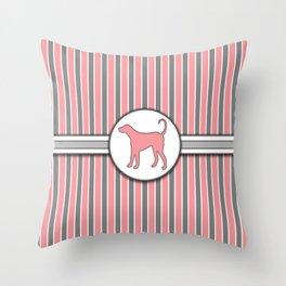 Dog on Pink Stripes Pattern Design Throw Pillow