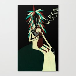 Serius Chief conforts little witch. Canvas Print