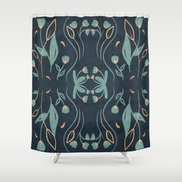 Floral Symmetry Pattern in Deep Blue And Teal Shower Curtain