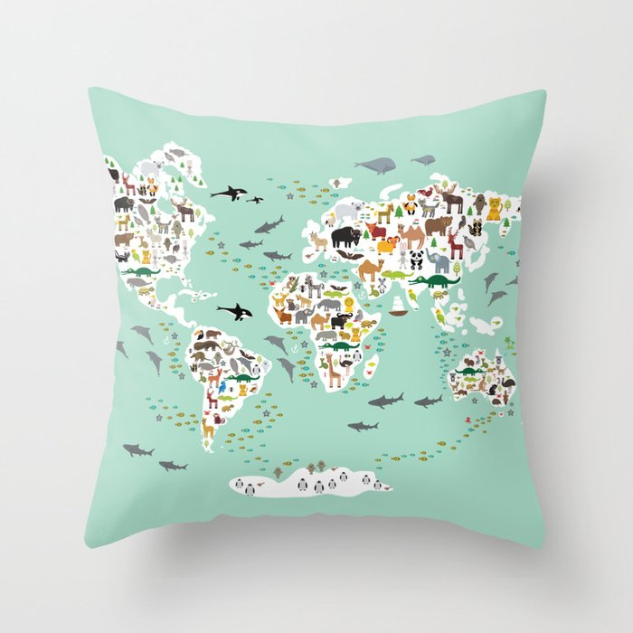 Cartoon animal world map for children, kids, Animals from all over the world, back to school, mint Throw Pillow