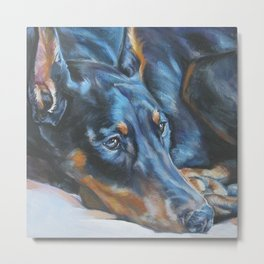 The Doberman Pinscher dog art portrait from an original painting by L.A.Shepard Metal Print
