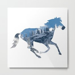 Horse Silhouette with Yosemite Valley Inlay Metal Print