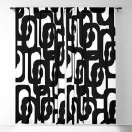 Black and White Mid-century Modern Loop Pattern Blackout Curtain
