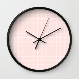 Misty rose - pink color - White Lines Grid Pattern Wall Clock