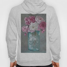 Antique Mason Jar Number 6 1858 with Pink Roses Hoody