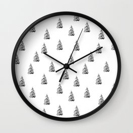 Newspaper Print Pine Trees Wall Clock