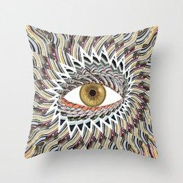 Origami Chakra Eye - Golden Hazel Throw Pillow