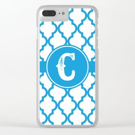 Blue Monogram: Letter C Clear iPhone Case