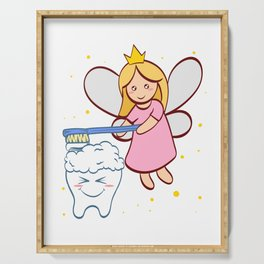 Tooth Fairy Brushing A Cute White Teeth Great Gift For Dentists Doctors, Dental Technician T-shirt Serving Tray