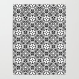 black and white Damascus ornament 2 Poster