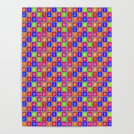 Numbers and Vowels Colorful Pattern Poster