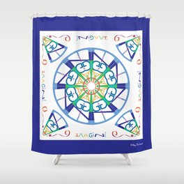 Imagine from the Inside - White/Blue Shower Curtain