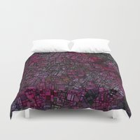 maps Duvet Covers featuring Fantasy City Maps 1 by MehrFarbeimLeben