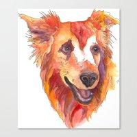 golden retriever Canvas Prints featuring Golden Retriever by Christie Martinez