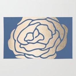 Rose White Gold Sands on Aegean Blue Rug