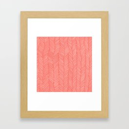 Living Coral Herringbone Happiness Framed Art Print