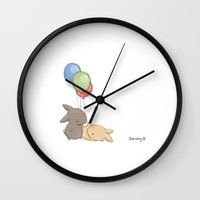 balloons Wall Clocks featuring Balloons by Jess Wong