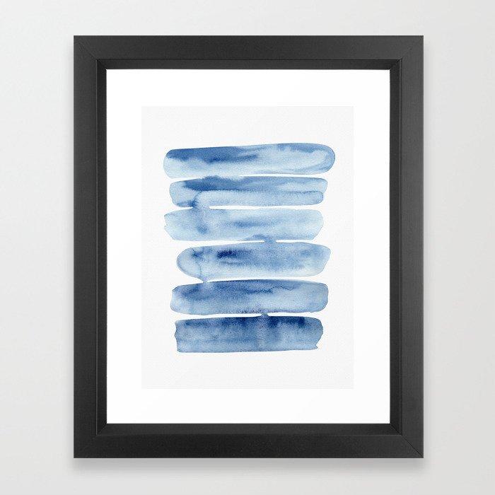 Blue Lines | Watercolor Painting Gerahmter Kunstdruck