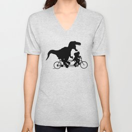 Gone Squatchin cycling with T-rex Unisex V-Neck