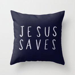 Jesus Saves x Navy Throw Pillow