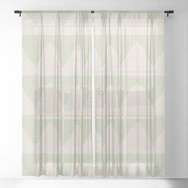 Geometric Pyramid Pattern - Soft Green Sheer Curtain