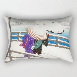 Women walking on Yanagi bridge - Japansese vintage woodblock print art Rectangular Pillow