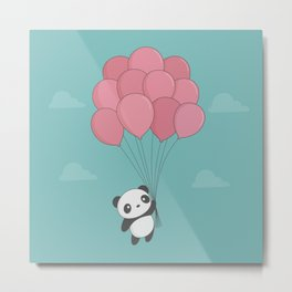 Kawaii Panda In The Sky Metal Print