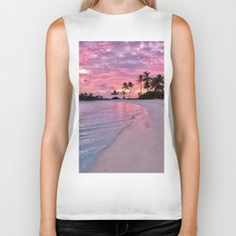 SUNSET AND PALM TREES Biker Tank