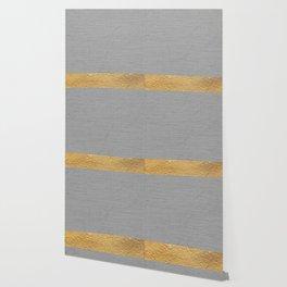 Color Blocked Gold & Grey Wallpaper