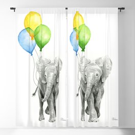 Elephant Watercolor Baby Animal with Balloons Blue Yellow Green Blackout Curtain