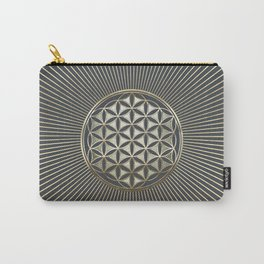 Flower of life metallic embossed Carry-All Pouch