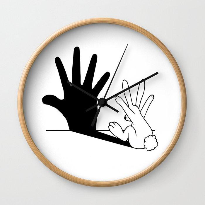 Rabbit Hand Shadow Wall Clock