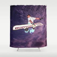 snowboarding Shower Curtains featuring Snowboarding #2 by Bruce Stanfield