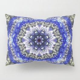 Happy Blues - blue and white kaleidoscope from lighted trees 1430 Pillow Sham