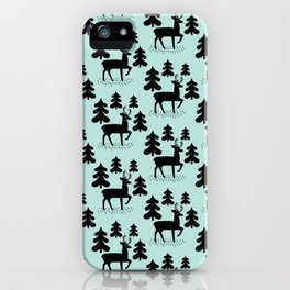 Deer In The Forest Blue Pattern iPhone Case