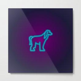 NEON AFGHAN HOUND DOG Metal Print
