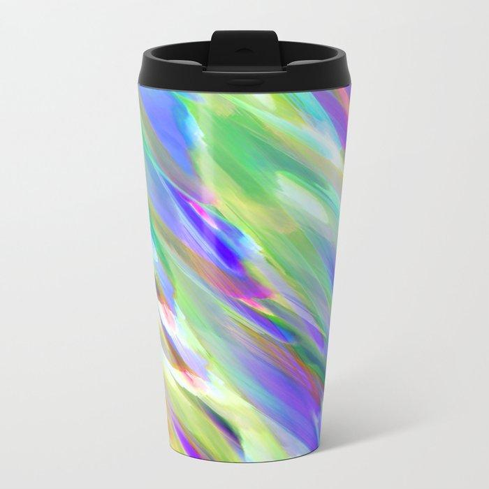 Colorful digital art splashing G401 Metal Travel Mug