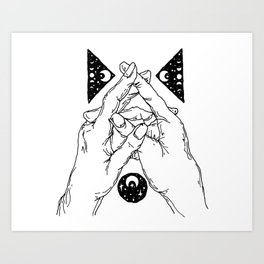 Cosmic Connection Hand Print Art Print