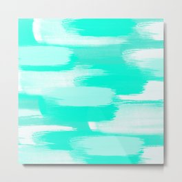 Modern turquoise teal watercolor brushstrokes pattern Metal Print