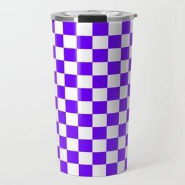 White and Indigo Violet Checkerboard Travel Mug
