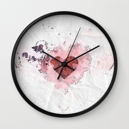 Abstract Lost Love White and Pink Crumpled Paper Design Wall Clock