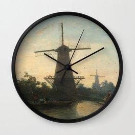 Windmills near Rotterdam, Johan Barthold Jongkind, 1857 Wall Clock