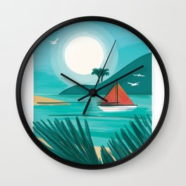 Beach with sailboat and sun Wall Clock