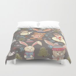 6)Christmas cute illustration with bunny and snowmen. Winter design illustration Duvet Cover