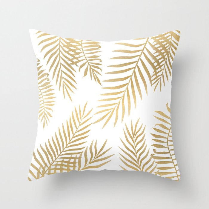 gold palm leaves throw pillow
