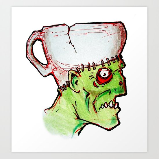 coffee zombie notext Art Print